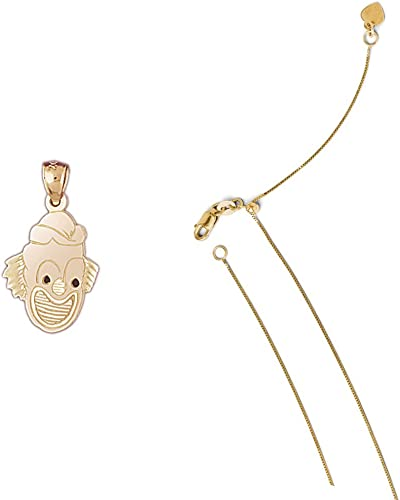 14K Yellow Gold Clown Pendant on an Adjustable 14K Yellow Gold Chain Necklace