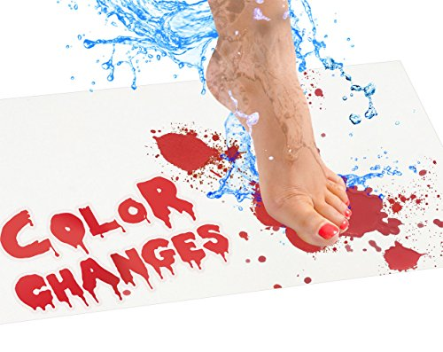 Bloody Bath Mat – Color Changing Sheet Turns Red When Wet – Make Your Own Bleeding Footprints that Disappear White – 1mm Thick Sheet, For Shower / Bathroom – Regular - April Home Pranks Fools Best
