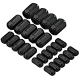 Wellcn 26 Pcs Ferrite Cores - EMI RFI Noise Filter Clip for 3mm/ 5mm/ 7mm/ 9mm/ 13mm Diameter-Black