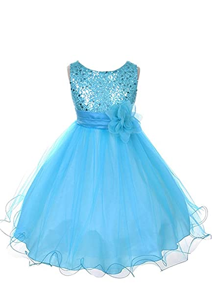 79e93832c Amazon.com: Kid's Dream Girl's Turquoise Sequin Bodice Mesh Girl Dress-turquoise-2:  Special Occasion Dresses: Clothing