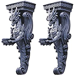 Design Toscano Dragons of Darkmoor Castle Wall Caryatids - Set of Two