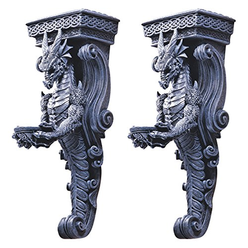 Design Toscano Dragons of Darkmoor Castle Wall Caryatids - Set of Two