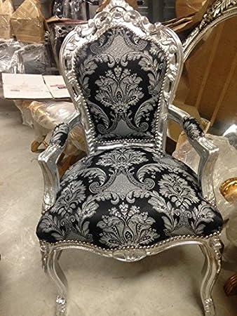 Stuhl Barock Armlehner Sessel Vintage Antik Stil Rokoko Blatt Silber