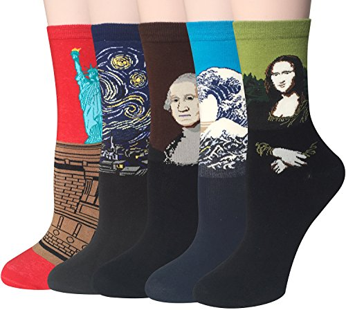 Chalier 4 Pairs / 5 Pairs Womens Famous Painting Art Printed Funny Novelty Casual Cotton Crew Socks