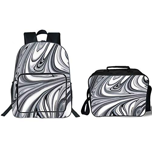 iPrint 19'' School Backpack & Lunch Bag Bundle,Apartment Decor,Mix of White and Black Hallucinatory Surreal Liquid Marble Figures Graphic Image,Grey,for Boys Girls by iPrint