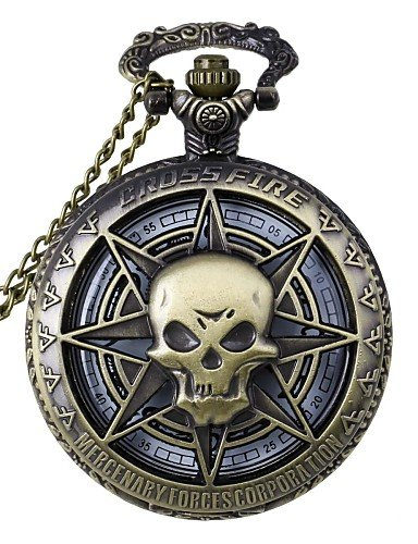 qfdzhs Fashion Hollow Out diseño de calavera Vintage aleación cuarzo reloj de bolsillo analógico con cadenas