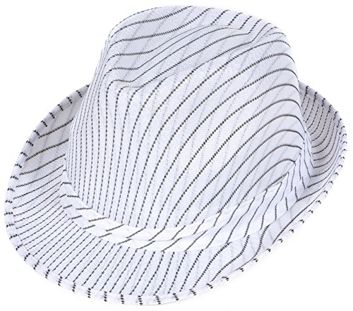 [Roaring 20s Gangster Costume White Pin Stripe Fedora Hat] (20s Gangster Adult Costumes)