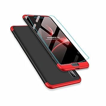 Funda Huawei P20 Lite y Protector de Pantalla de Vidrio Templado, MISSDU Carcasa 3 in 1 360 Grados Rígida PC Protective Anti-rasguños Case, Negro Rojo