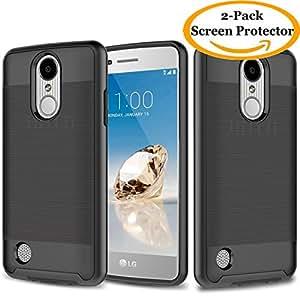 LG K20 Plus Case, LG K20 V Case, LG Harmony Case, LG Grace Case, JATEM Minimalistic Design Hybrid [Slim Fit] Smooth Hard Cover with TPU Case + 2 HD Screen Protectors (Black/Black)