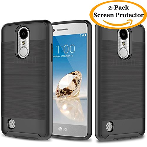 LG K20 Plus Case, LG K20 V Case, LG Harmony Case, LG Grace Case, JATEM Minimalistic Design Hybrid [Slim Fit] Smooth Hard Cover with TPU Case + 2 HD Screen Protectors (Black/Black) from JATEN
