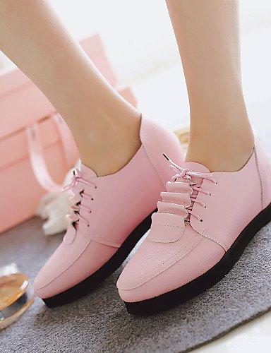 ZQ hug Zapatos de mujer - Tacón Cuña - Cuñas / Tacones - Tacones - Exterior / Oficina y Trabajo / Casual - Semicuero -Negro / Rosa / Blanco / , pink-us7.5 / eu38 / uk5.5 / cn38 , pink-us7.5 / eu38 / u pink-us10.5 / eu42 / uk8.5 / cn43