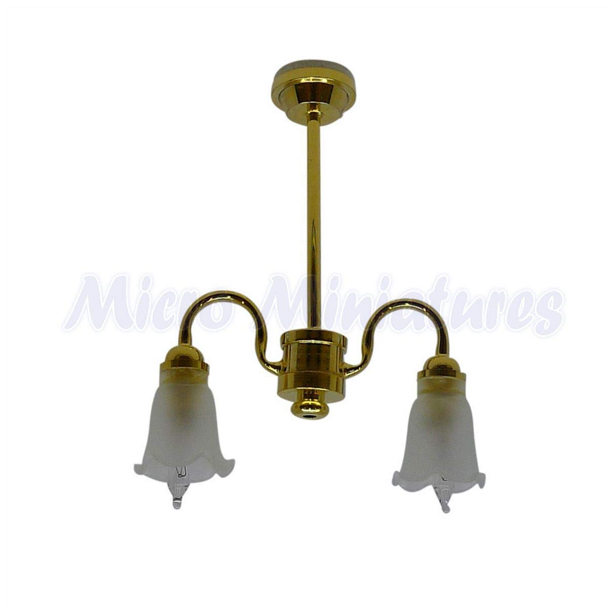 1:12 Scale 12 volt 3 Light Down Frosted Tulip Chandelier