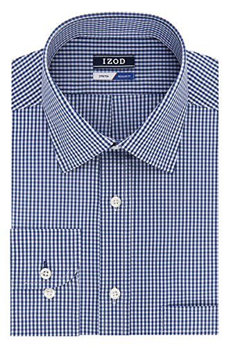 IZOD Men's Dress Shirt Regular Fit Stretch Check, Blueberry, 18-18.5