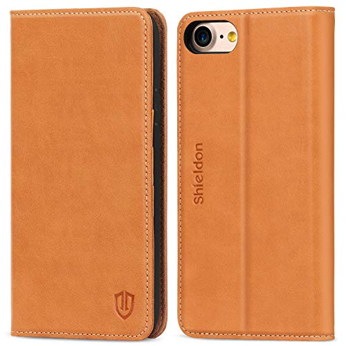 SHIELDON iPhone 8 Case, iPhone 7 Case, Genuine Leather iPhone 7 Wallet Case with Magnetic Closure Credit Card Holder Flip Book Design Stand Folio Cover Compatible with iPhone 8 and iPhone 7 - Brown (Best Leather Iphone 7 Case)
