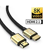SIKAI MOSHOU Ultra High Speed HDMI 2.1 Cable 8K 60Hz, 4K 120Hz, 3D Ultra HDR 48Gbps HiFi eARC Dolby Atmos HDCP2.2 HDMI Cable Compatible with Apple TV Samsung QLED 8K Q900 TV Fire TV (6 Feet/2 Meters)