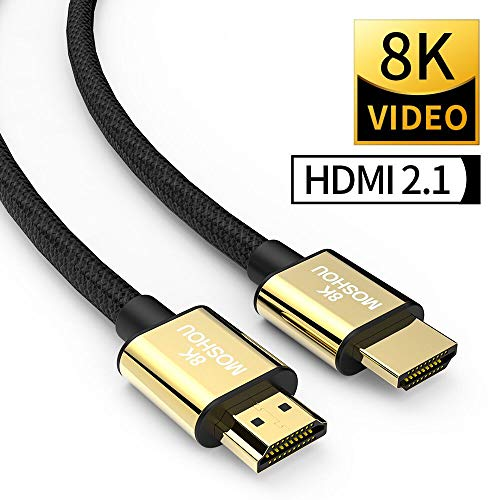 SIKAI MOSHOU Ultra High Speed HDMI 2.1 Cable 8K 60Hz, 4K 120Hz, 3D Ultra HDR 48Gbps HiFi eARC Dolby Atmos HDCP2.2 HDMI Cable Compatible with Samsung QLED 8K Q900 TV, TCL Roku TV, VIZIO TV (9 Feet)