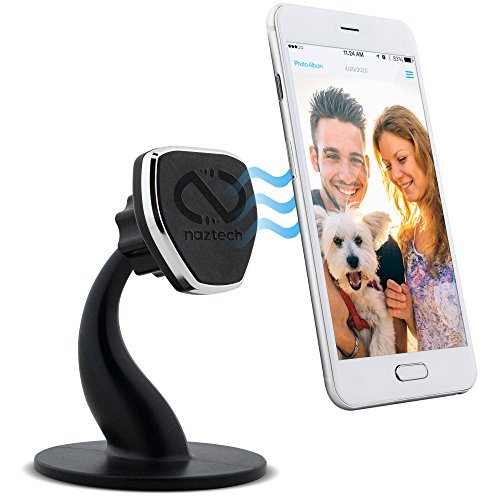 Naztech MagBuddy Magnetic Desktop Cell Phone Mount. Easy Access To Apps, Messages, Photos, Use At Workplace, Home, Compatible for iPhone X /8/8 Plus, Samsung S9/S9+/ Note 8, Smartphones & More (Black)