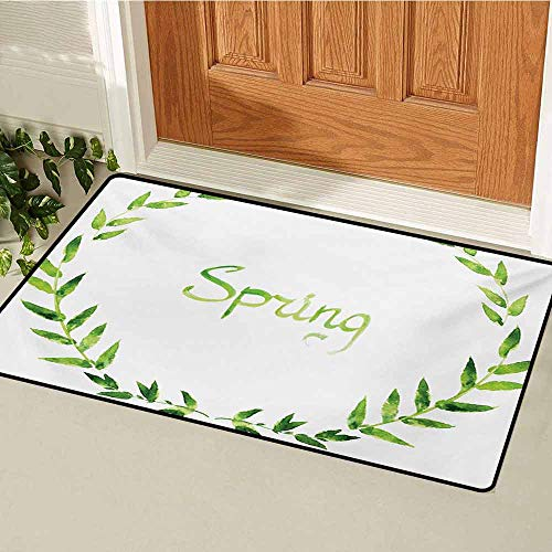Watercolor Inlet Outdoor Door mat Wreath of Leaves Natural Imagery Ecological Design Spring is Coming Artwork Catch dust Snow and mud W15.7 x L23.6 Inch Apple Green