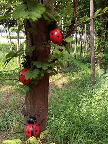 starbluegarden 3pcs Metal Red Ladybug Wall Hanger Wall Hanging Outdoor Garden Decor