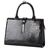MATHIS Chic Black Faux Crocodile Print Rectangle Silvertone Closure PU Patent Leather Top Double Handle Office Tote Handbag Satchel Briefcase Purse, Bags Central