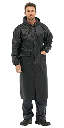0c3893c127e Mens Long Length Waterproof Hooded Rain Coat/Jacket: Amazon.co.uk ...