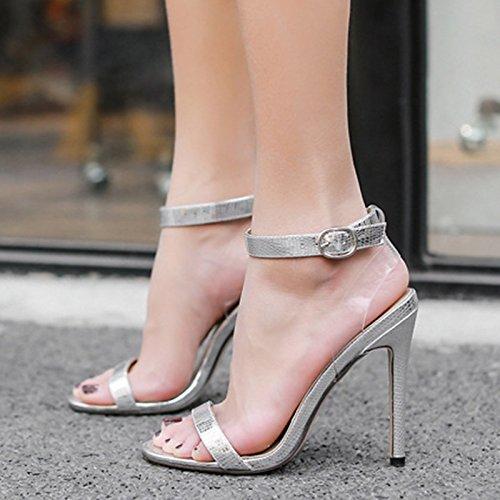 ZHZNVX Zapatos de mujer moda Primavera Verano botas de piel sintética comodidad novedad sandalias Stiletto talón para bodas de oro y plata casual Silver