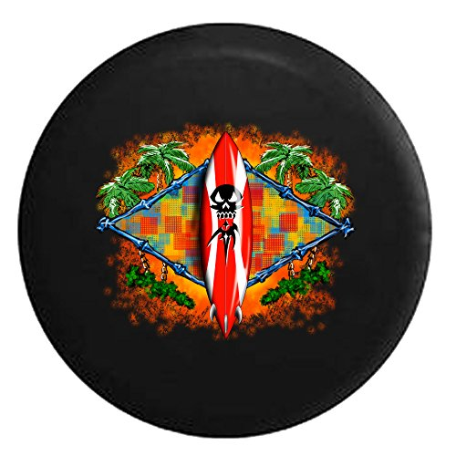 Tiki hut Surfboard in the Tropical Island Surfing Beach LifeSpare Tire Cover Black 33 - Hut Number The Contact