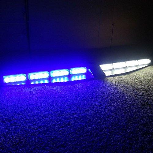 VSLED 2-16 LED 96 Watt Car Truck Emergency Beacon Light Bar Exclusive Split Visor Deck Dash Strobe Warning LightBar Blue/White LightBar ()