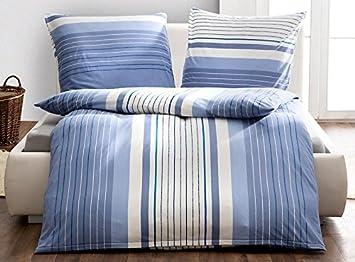 Bierbaum Winter Jersey Bettwäsche Sets 135 X 200 Cm Blaue Streifen