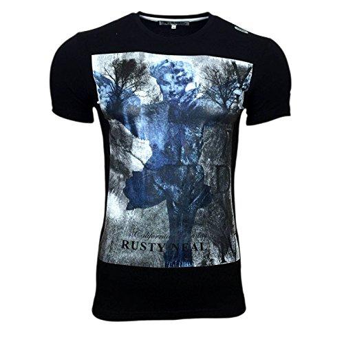 Druck T Shirt Herren Men Schwarz Polo Hemd S M L XL XXL Kurzarm Rundhals AVRONI , Größe:S, Farbe:Schwarz