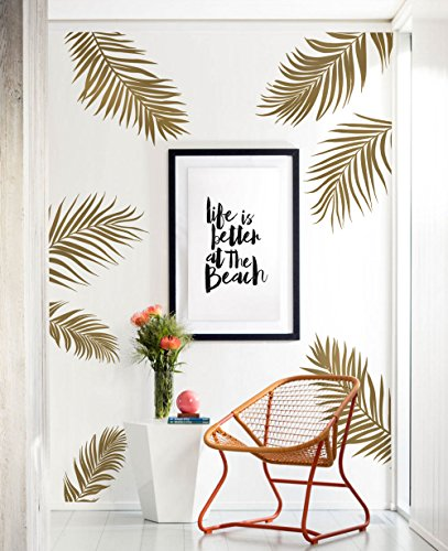 Simple Shapes Palm Leaves Wall Decal - Gold Metallic