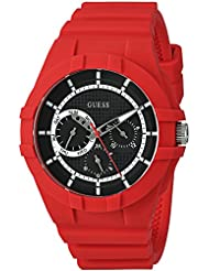 GUESS Mens Silicone Casual Watch, Color: Red (Model: U0942L4)