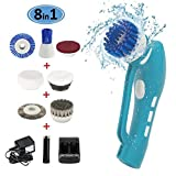 Power Scrubber Brush, EVERTOP Cordless Tub and Tile Scrubber with 8 Replaceable Cleaning Scrubber Brush Heads for Bathroom, Floor, Wall and Kitchen Cleaning (Power Scrubber Brush)