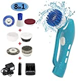 electric shower cleaner - Cleaning Scrubber, Electric Power Handheld Cordless Power Scrubber Cleaner with Rechargeable Battery 7 Replacement Brushes and 1 Scouring Pad for Kitchen/ Bathroom/BBQ Grill