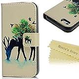 Mavis's Diary iPhone5/5s用ケース 鹿 イラスト 横開き 手帳型 PUレザー カードポケット・スタンド機能付き 衝撃吸収【クリーニングクロス付き】