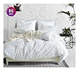 Elephant Soft Duvet Cover Set, Premium Microfiber, Grid Pattern On Comforter Cover-3pcs:1x Duvet Cover 2X Pillowcases,with Zipper Closure (King)