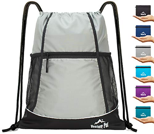 Venture Pal Packable Sport Gym Drawstring Sackpack Backpack Bag with Wet Pocket for Men,Women-Gray ()