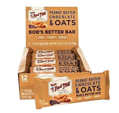Bob's Red Mill Non-GMO, Gluten Free, Whole Grain Bob's Better Bar 1.76 ounces- 12 bars per box (12 boxes) (Peanut Butter & Chocolate & Oats) (Peanut Butter And Jelly Oatmeal Breakfast Bars)