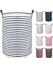 DOKEHOM 18-Inches Freestanding Laundry Basket with Lid, Collapsible Large Drawstring Clothes Hamper Storage with Leather Handle (Blue Stripe, M)