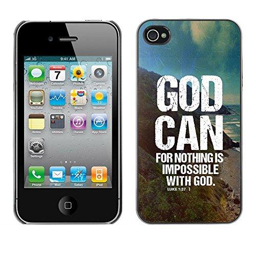 DREAMCASE Citation de Bible Coque de Protection Image Rigide Etui solide Housse T¨¦l¨¦phone Case Pour APPLE IPHONE 4 / 4S - GOD CAN - LUKE 1:37