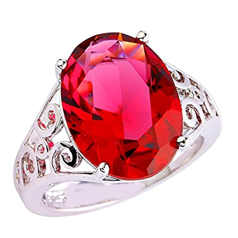 Empsoul 925 Sterling Silver Natural Chic Filled 6.5ct Ruby Spinel Topaz Engagement Ring - 6.5k Metal