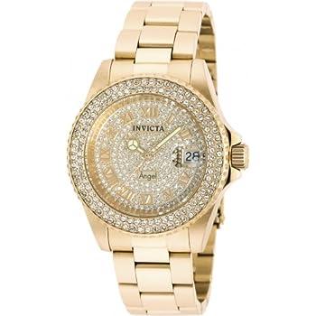 Invicta Womens 90255 Angel Quartz 3 Hand Pave, Gold Dial Watch