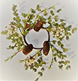 Christmas 10-12'' Candle Ring or Mini-Wreath with Leaves, Pinecones, and Buyers' Choice of Red Berry or White Berry (Winter white)