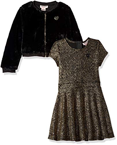 Juicy Couture Girls' Big 2 Pieces Dress Set, Gold Print/Black 8/10 ()
