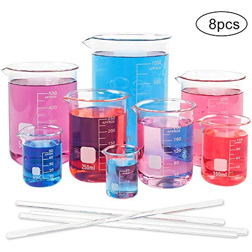 SUPERLELE 8pcs Glass Graduated Beaker Set 25/50/100/200/250/400/500/1000ml, Multiple Capacity Borosilicate Glass, Low Form Griffin Thick Wall Type Measuring Beakers with 4 Stirring Rods