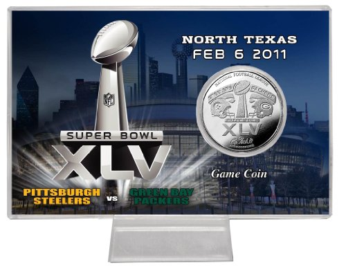 NFL Super Bowl XLV Silver Flip Coin Card by The Highland Mint