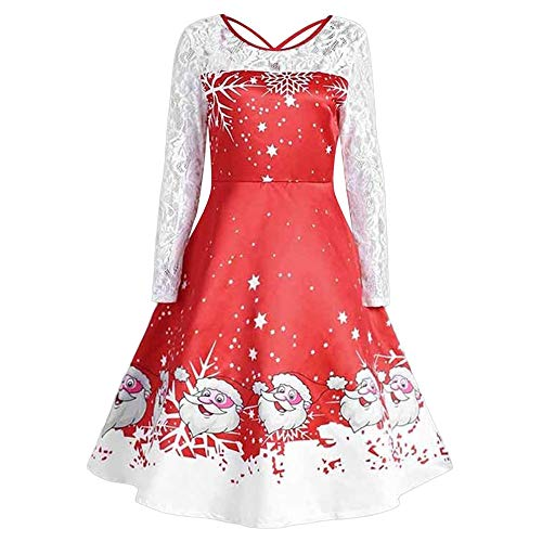 Zackate Xmas Womens Lace Patchwork Christmas Retro Swing Dress Vintage Style Hem Dresses -