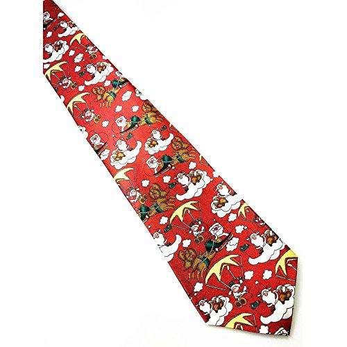 Santa Necktie (Christmas Tie Santa Present Necktie for Party Fancy Wear and Fun By Shiningup)