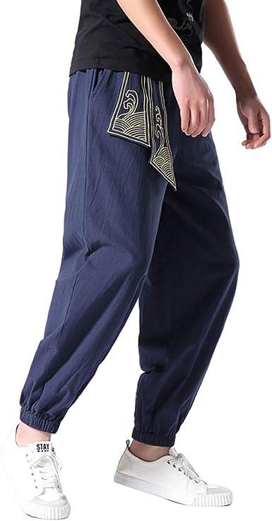 Gusspower Hombre Pantalones Harem,Pantalones de Pierna Ancha ...