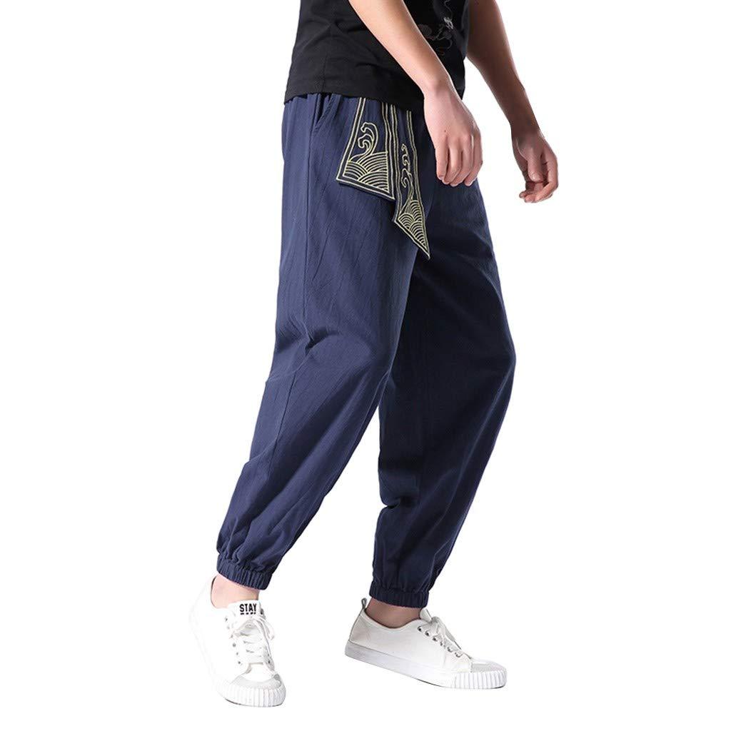 ANJUNIE Men's Super Soft Modal Spandex Harem Yoga Pilates Pants Harren's Baggy Wide-Legged Comfortable Trousers(1-Navy,L) by ANJUNIE
